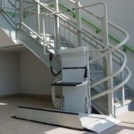 commercial wheelchair lift. Inclined Platform Lift Handles Inside And Outside Curved Stairs, Multiple Levels Spiral Stairs. Ideal For Access Over Stairs In Commercial Settings. Wheelchair C