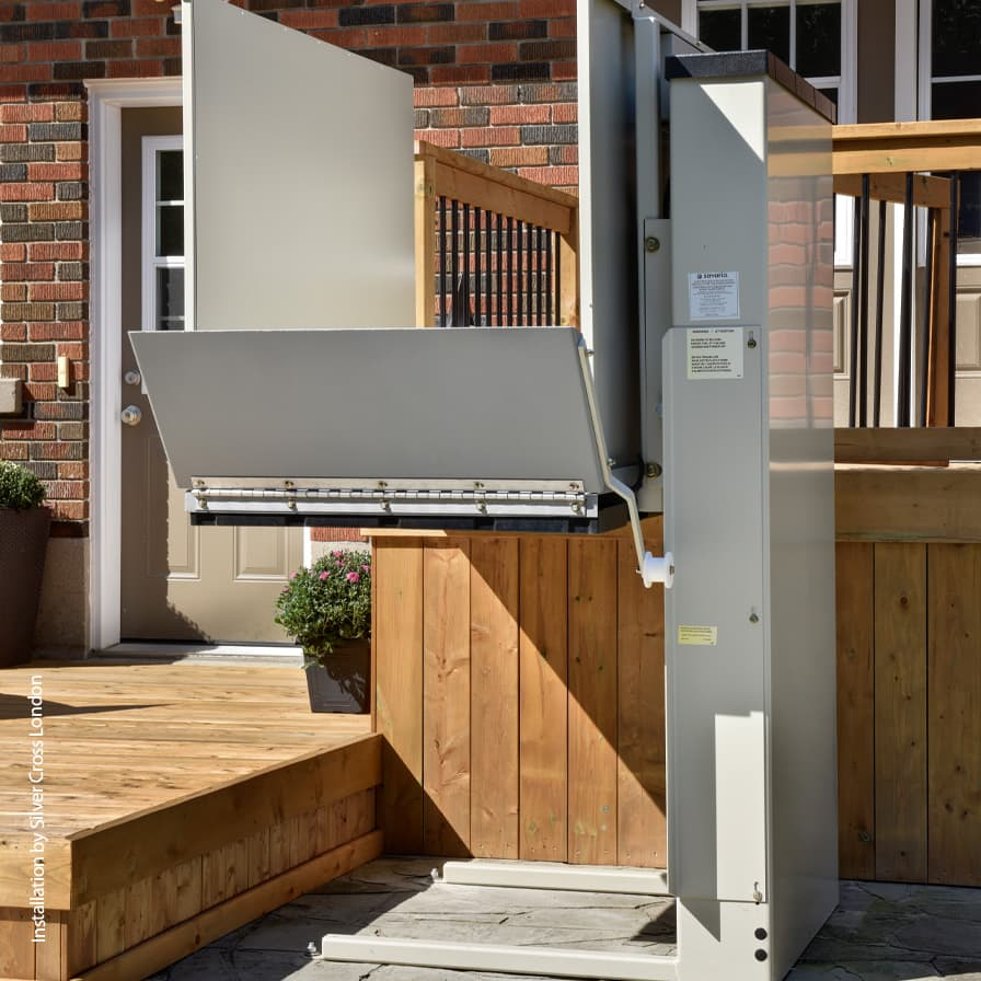 Savaria Multilift Unenclosed VPL London Side Angle Top of Stairs
