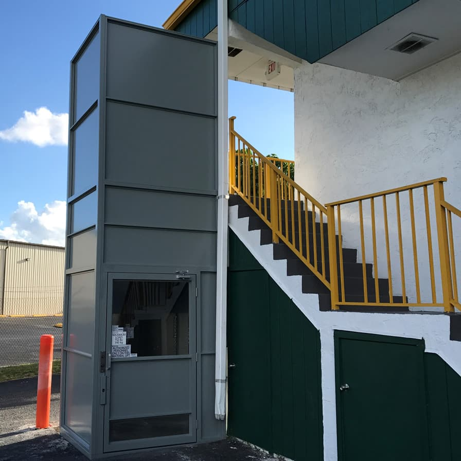 Savaria Material Lift M-1504 Florida Lifts exterior installation image