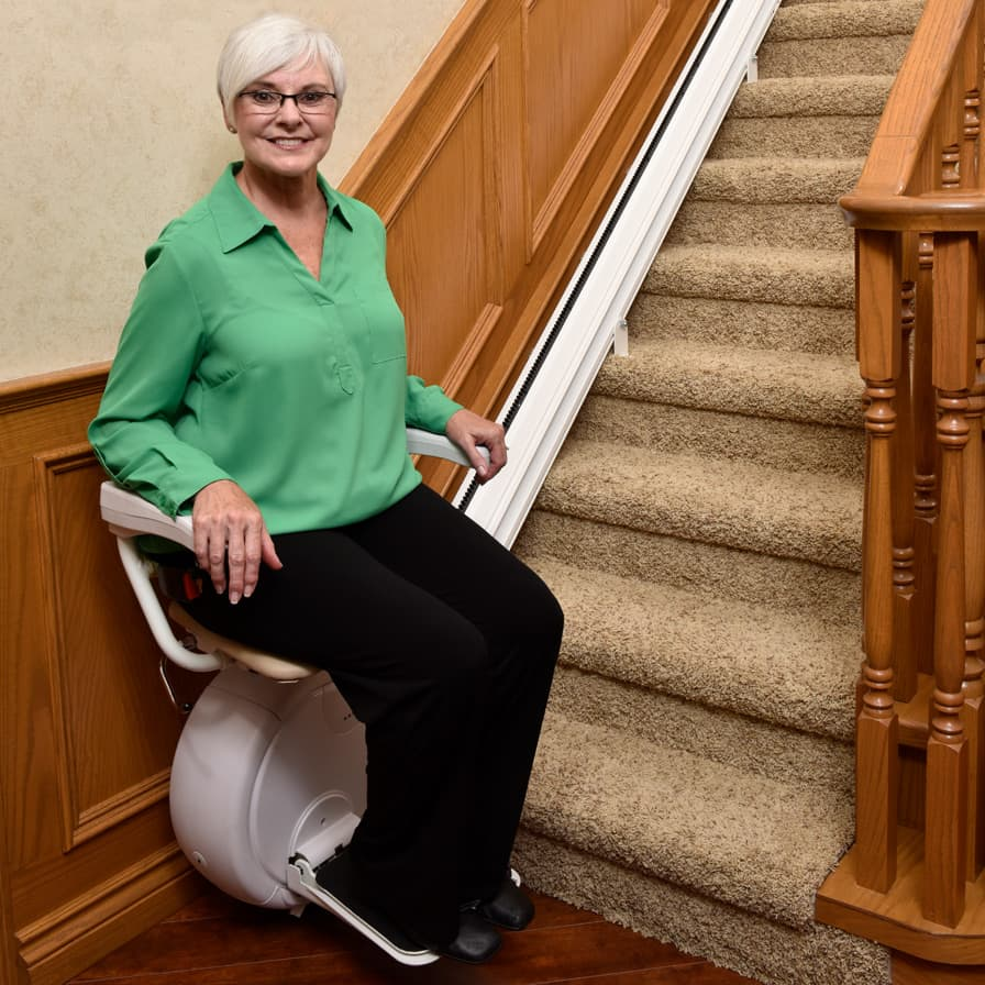 Savaria K2 Straight Stairlift Bottom of Stairs