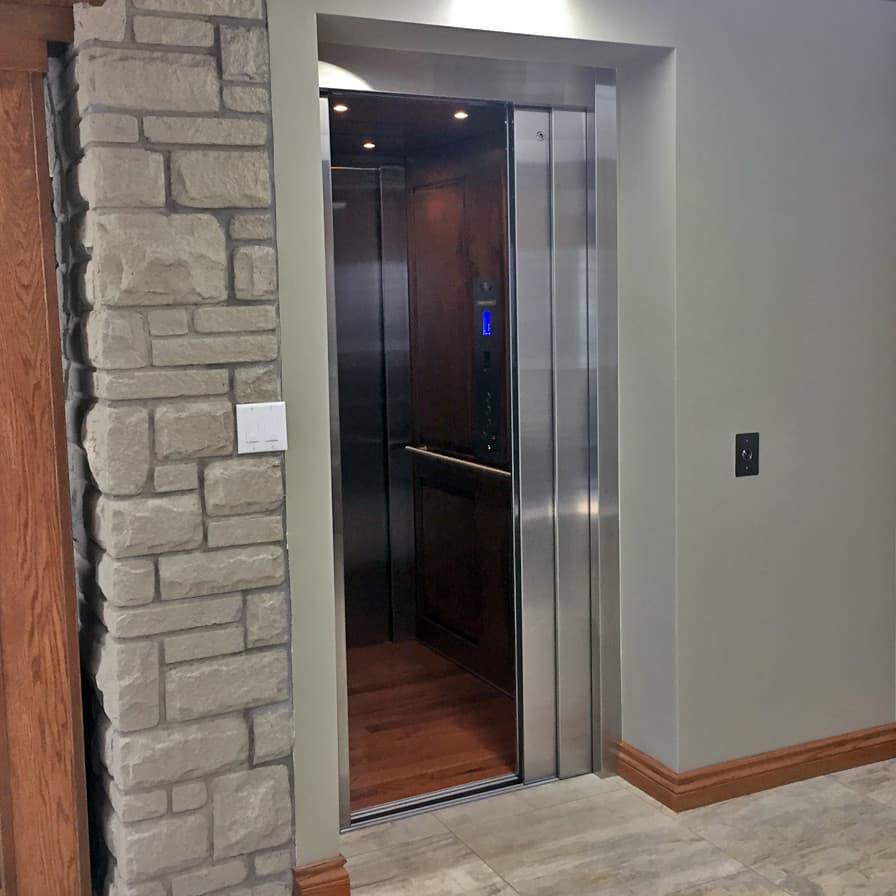 Savaria Zenith Home Elevator Stainless Slim Rock Wall